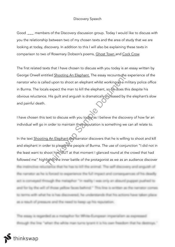 essay 1 elephant [tags: hills like white elephants essays] good essays 559 words | (16 pages) | preview the effect of respect on morality depicted in the guest and shooting an elephant - the prevailing.