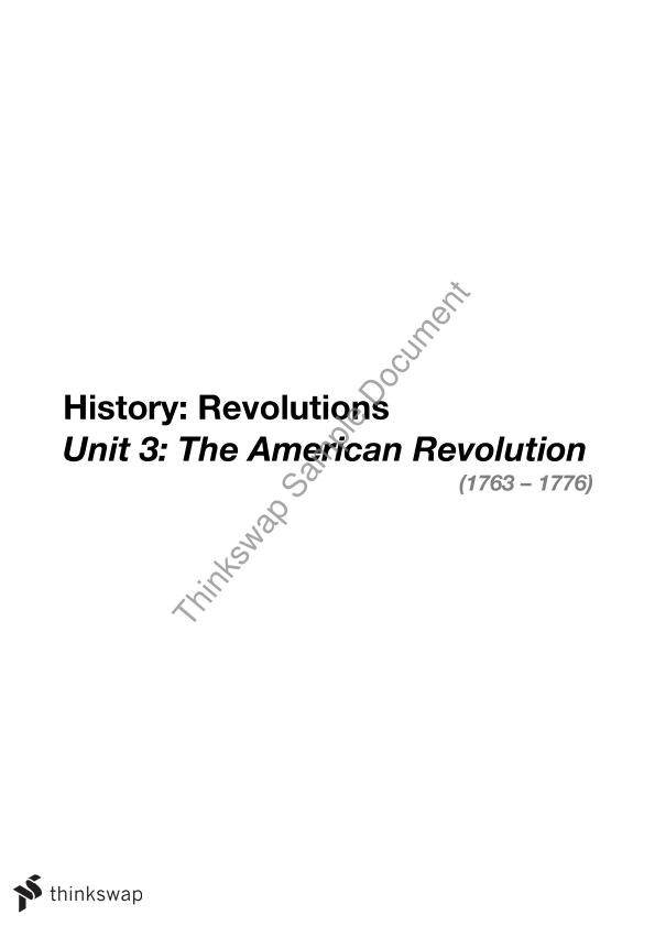 Complete VCE American Revolution Study Notes