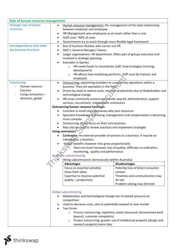 Business Studies - Human Resources HSC Complete Notes