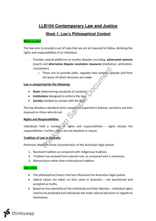 LLB104  Law in Context Completed Notes
