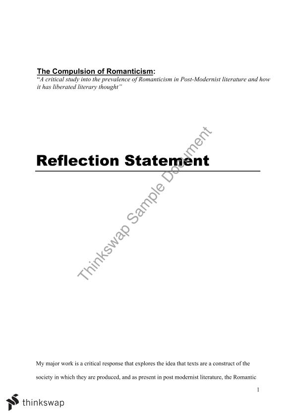 Reflection Statement Example