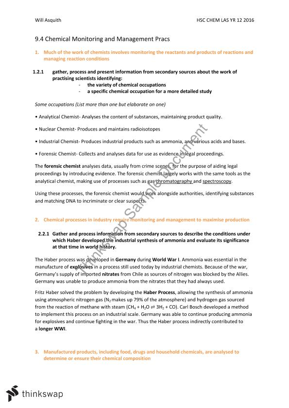 9.4 Chemical Monitoring and Management Notes Pracs