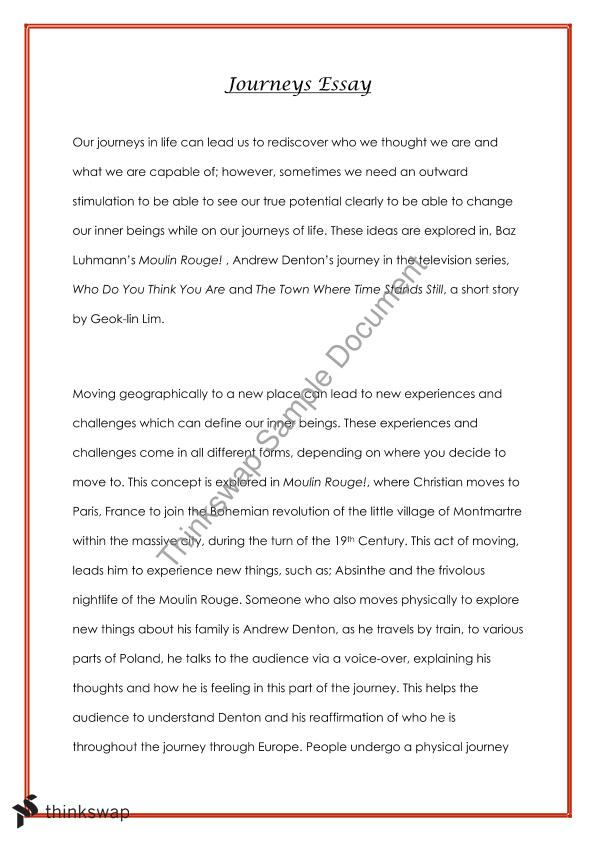 Proposal Essay Sample Journeys Essay  Year  High School Reflective Essay also Photosynthesis Essay Journeys Essay  Year   Year  Hsc  English Advanced  Thinkswap Thesis Essay Topics