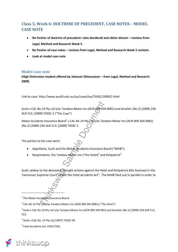 Doctrine of Precedent, Case Notes - Model Case Note | 70120 ...