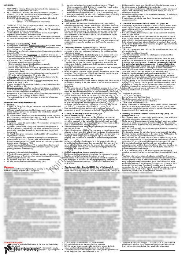 Property Law Final Exam Cheat Sheet