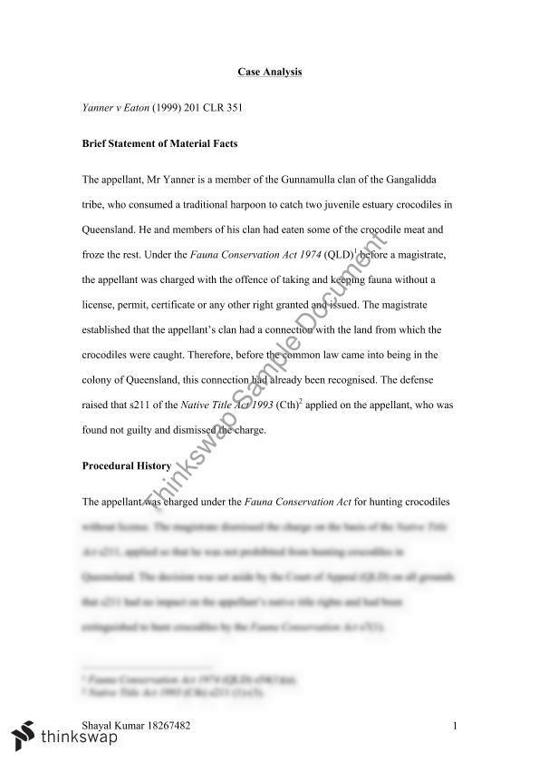 Yanner v Eatons | 7050 - Property Law | Thinkswap