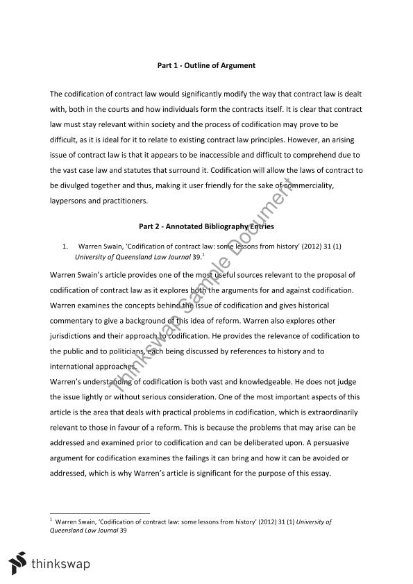 Contracts Law Essay Outline