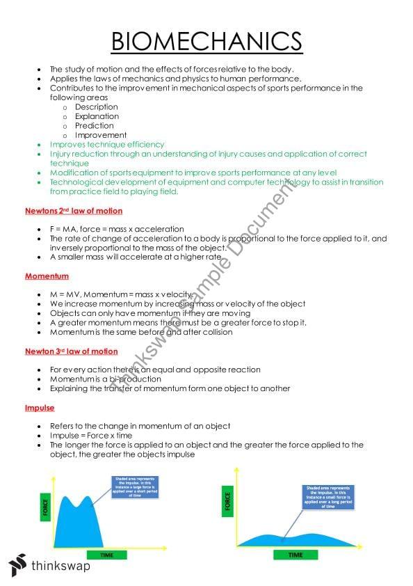 Biomechanics Notes | Year 12 WACE - Physical Educational