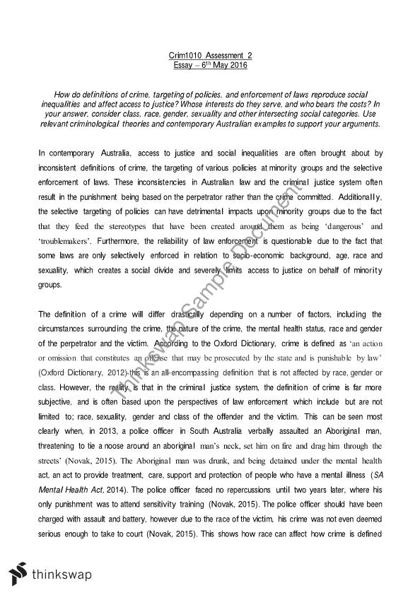 assessment 1 essay crime and the Property crime) 112 the previous assessment of these sets of statistics was published a series of analytical papers to support the crime statistics reports.