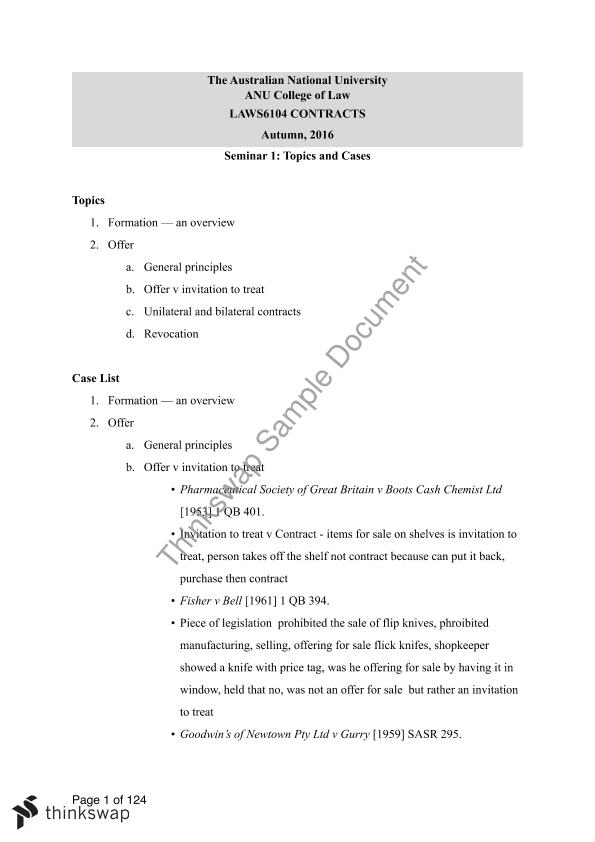 LAWS6104 Contracts Full Notes