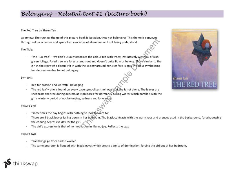 Notes On The Red Tree Shaun Tan Year 11 Hsc English Advanced