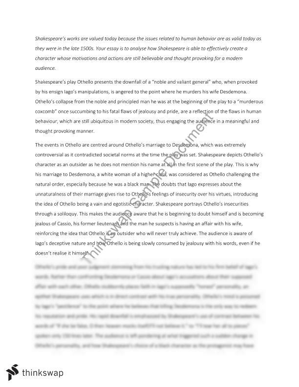 Example English Essay Human Behaviour In Othello Religion And Science Essay also Essays In English Human Behaviour In Othello  Year  Hsc  English Advanced  Essay Writing Topics For High School Students