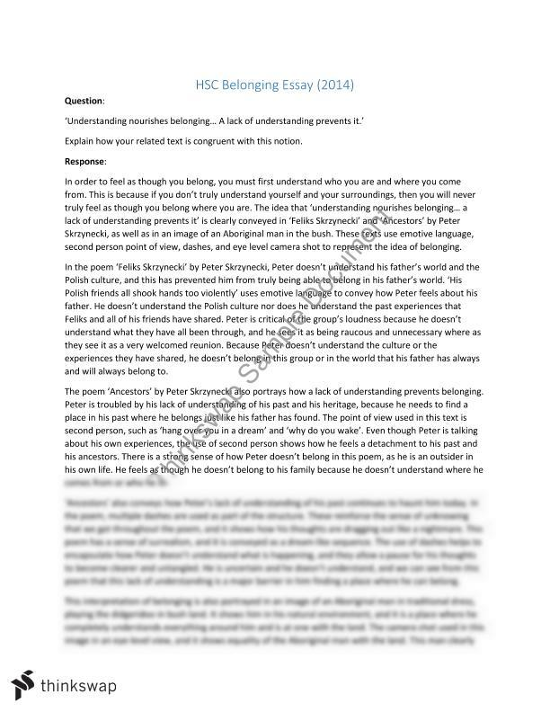 hsc english belonging essay