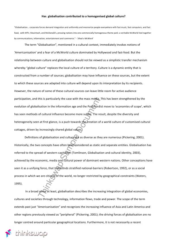 history of globalization essay Globalisation essay: the positive and negative impacts of globalisation on the developing world what is globalisation free 3000 words globalisation essay: the concept of globalization is currently a popular but very controversial issue, and has been one of the most widely debated issues since communism collapsed.