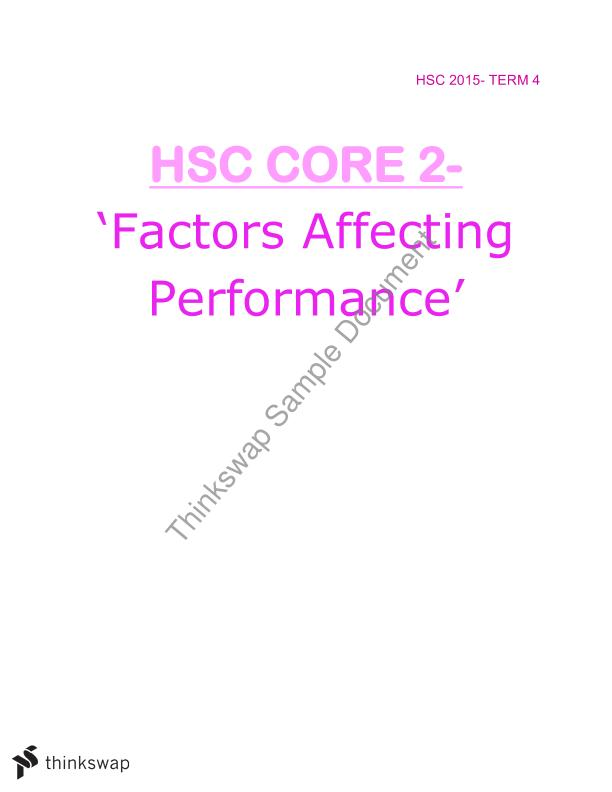Notes on HSC Core 2- Factors Affecting Performance