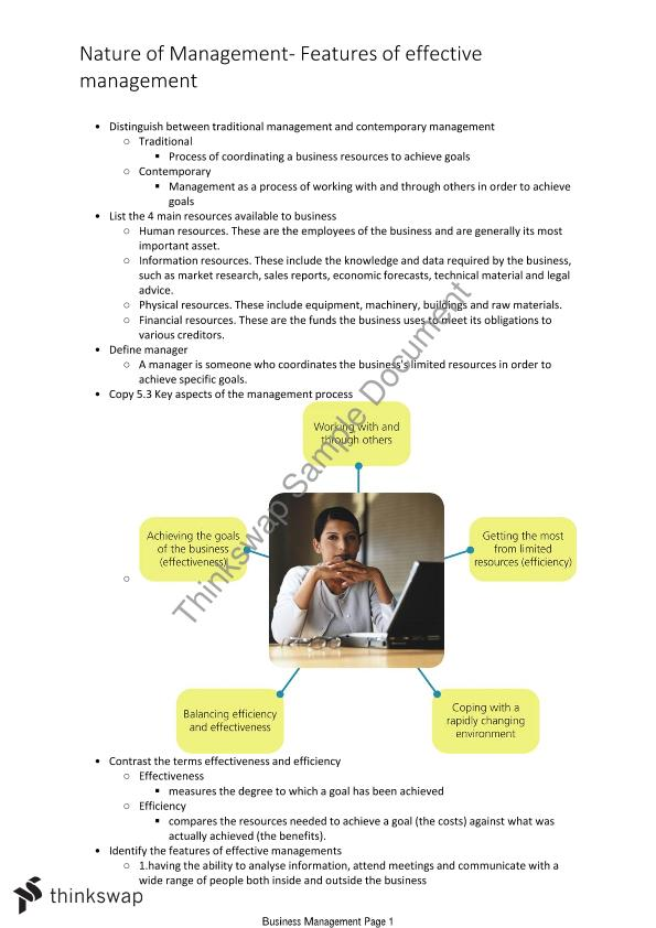 Business Management syllabus notes, dot point