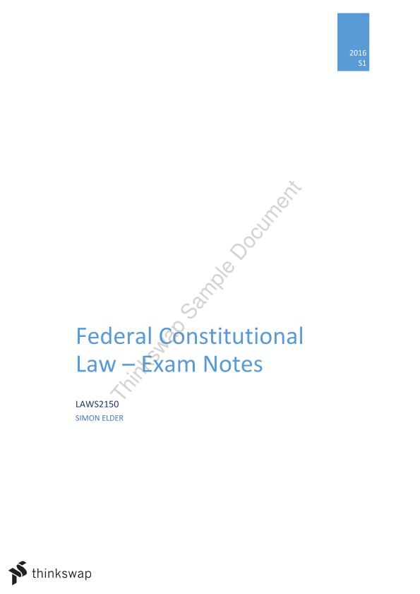 Federal Constitutional Law Final Exam Notes - Page 1