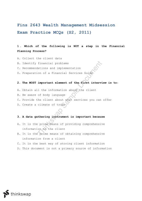 Mid Term Exam Practice MCQs | FINS2643 - Wealth Management | Thinkswap