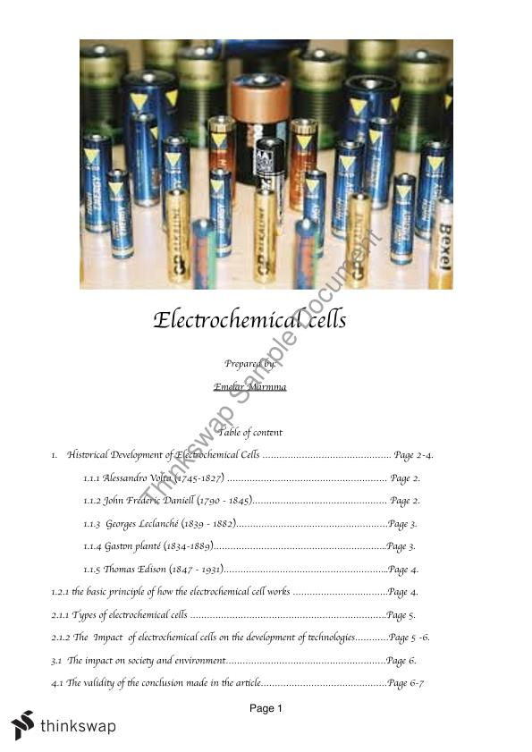 Electrochemical Cells Assignment