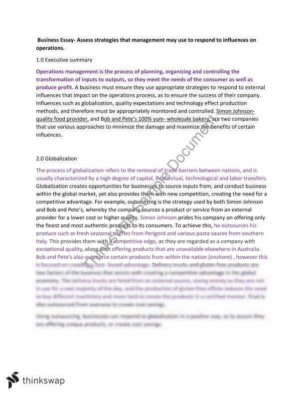 operations management essay pdf