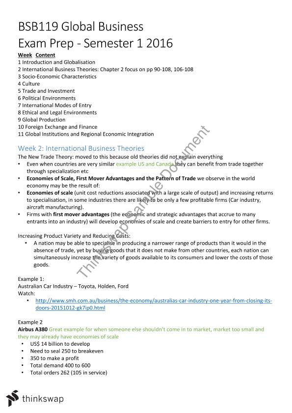global business complete notes for exam preparation - semester 1 2016