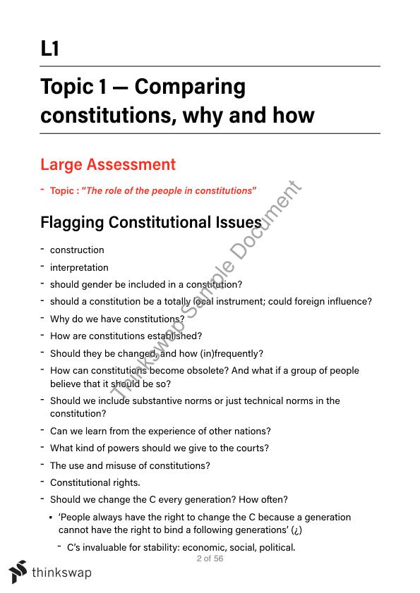 LAW4165 Comparative Constitutions and Rights Course Notes ...