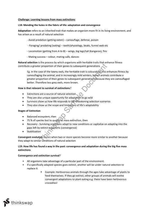 Complete Study Notes for BIOL1030 Final Exam | BIOL1030