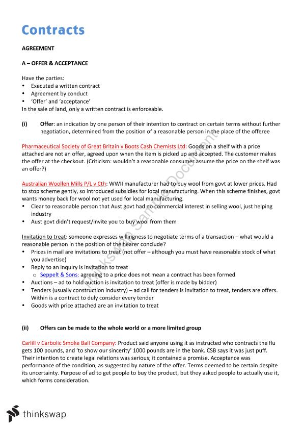 Contract Notes Laws5002 Contracts Thinkswap