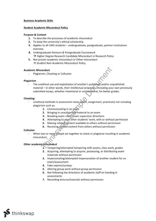 uws academic misconduct essay