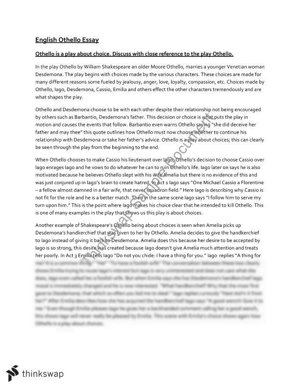 11 + english essay Othello essay this student studied: hsc - year 11 - english (advanced) this is an essay on shakespeare's play othello that received a mark of 18/20 it provides technical deconstruction and analysis of the play in relation to the discussion as to whether iago is the catalyst of this tragedy.