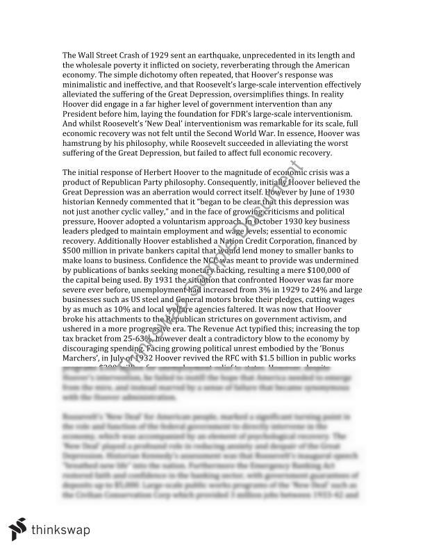 roosevelt and the new deal essay Franklin Delano Roosevelt and the New Deal Essay Sample
