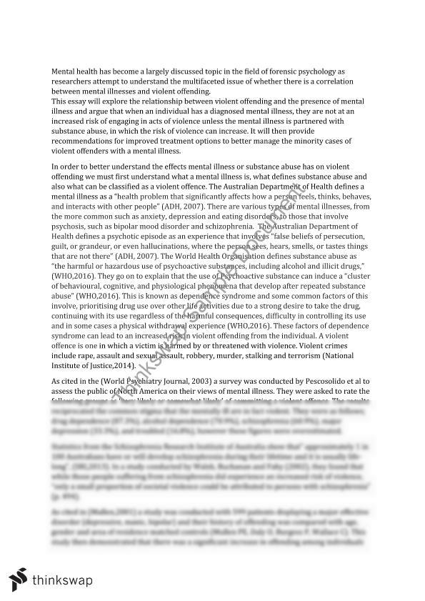 Mental Health and Violent Offending Essay - Page 2