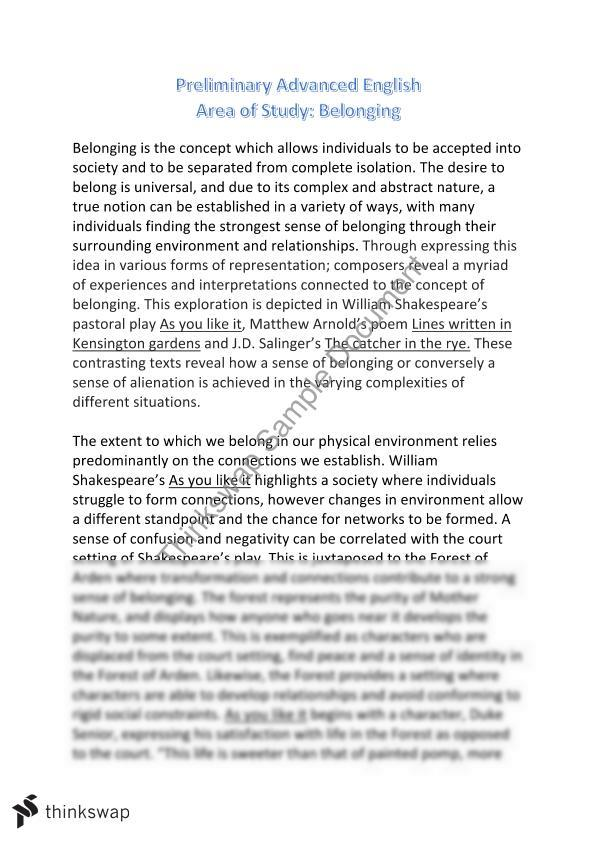 Belonging essay conclusion