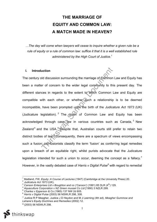 Essay on fusion of equity and common law