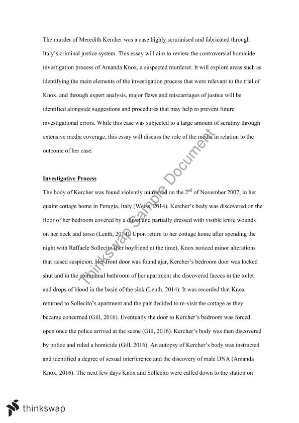 Process of a homicide case essay