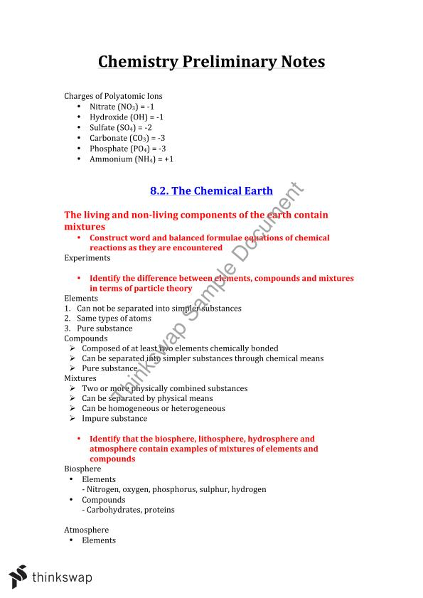 the chemical earth chemistry year 11