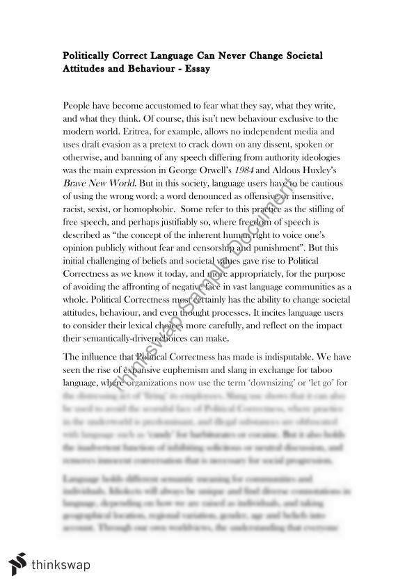 political correctness 2 essay Essay question: if you control language you control yourself, and perhaps others discuss this in relation to racism some points how perceptions of racism differ between the 2 cultures,how culture is influenced and reflected not only by its individual members but other cultures ie government, education, media,how different cultures use different terms, can each paragraphread more about.