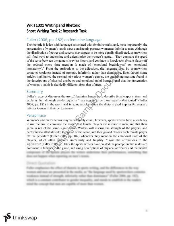WRIT1001 Short Writing Task 2 | WRIT1001 - Writing and Rhetoric