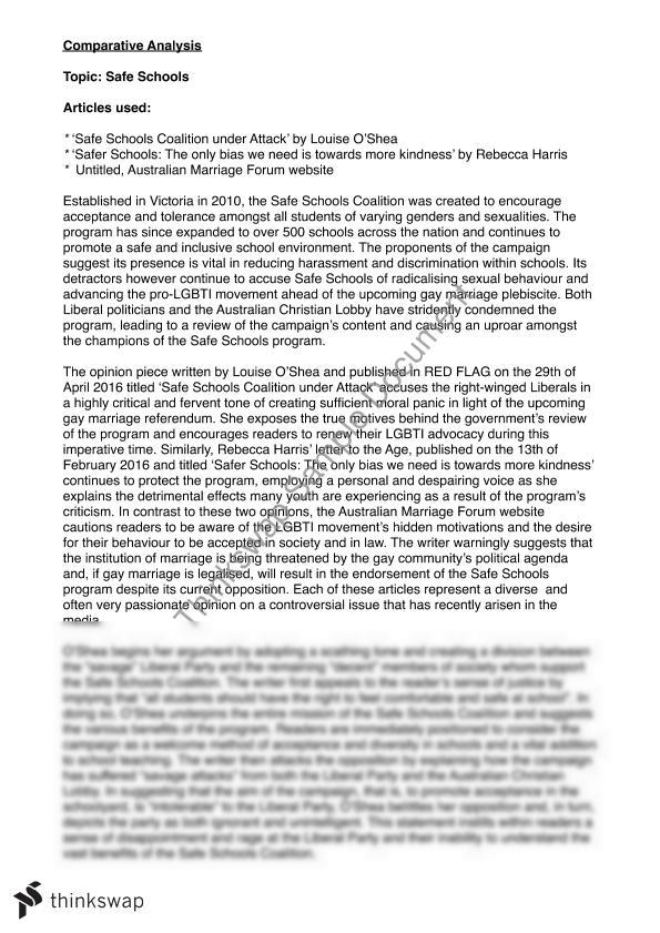 A+ Comparative Language Analysis Sample | Year 12 VCE - English ...