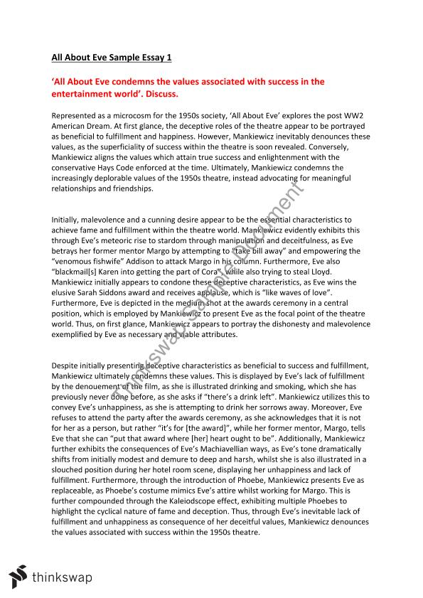 all about eve text response essays year vce english thinkswap all about eve text response essays