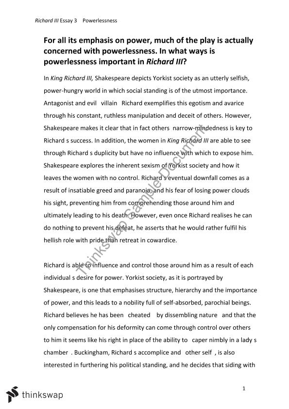 Essay For High School Students Richard Iii Essay What Is An Essay Thesis also Write A Good Thesis Statement For An Essay Richard Iii Essay  Year  Vce  English  Thinkswap Persuasive Essays For High School