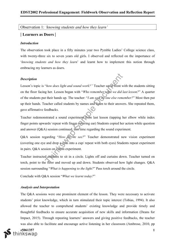 Field Observation and Reflection Report Part A