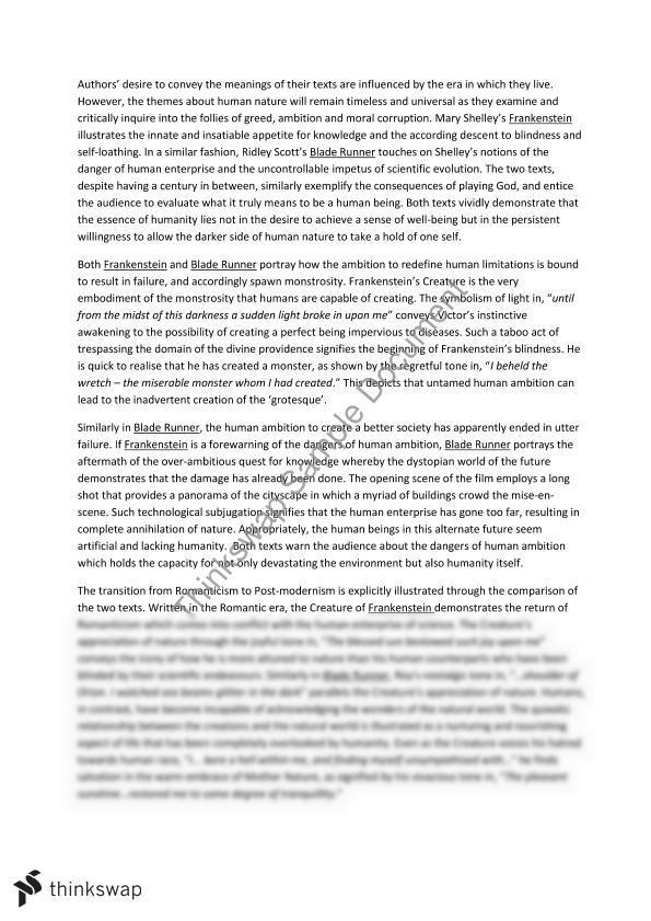 Blade runner and frankenstein essay