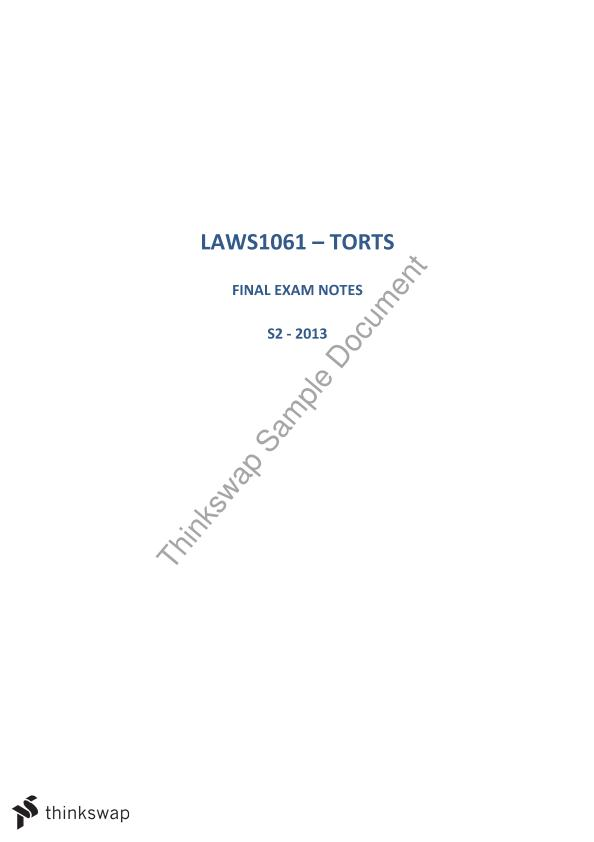 Torts Final Exam Notes