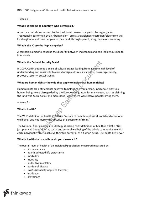 INDH1006 - Indigenous Cultures and Health Behaviours Exam Notes ...