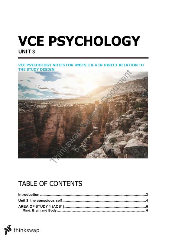 VCE Psychology unit 3