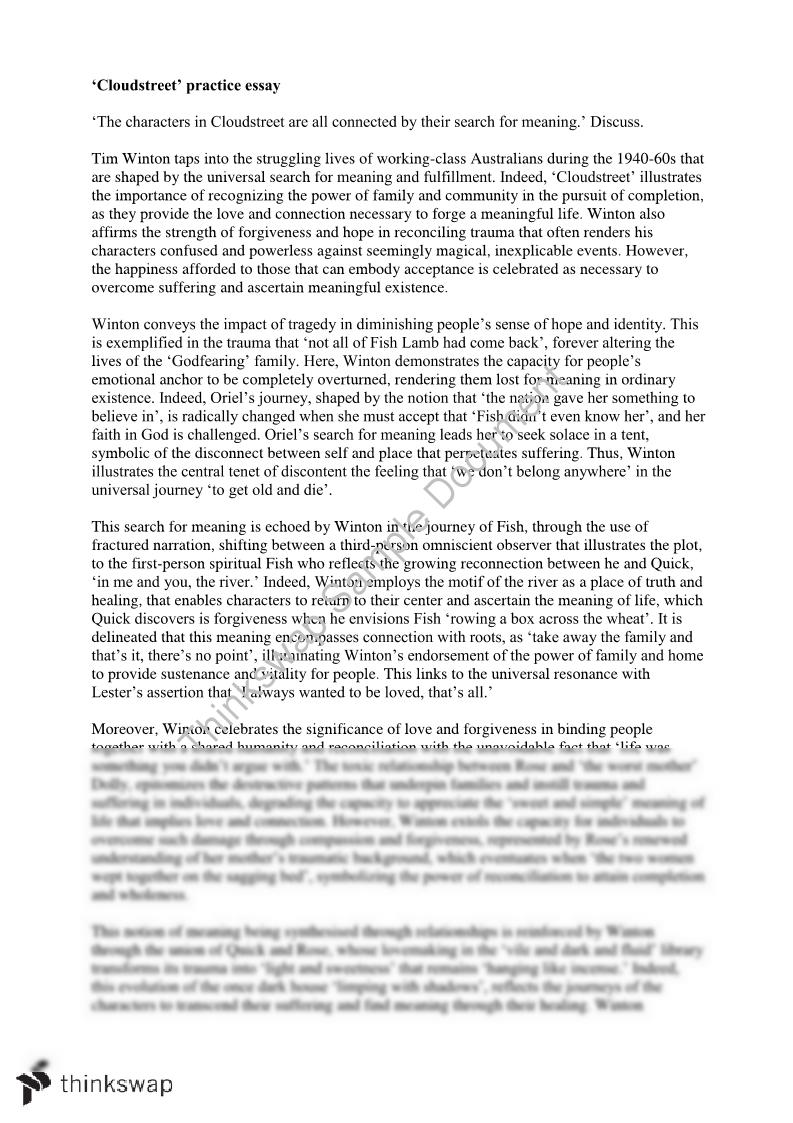 cloudstreet essay year vce english thinkswap cloudstreet essay