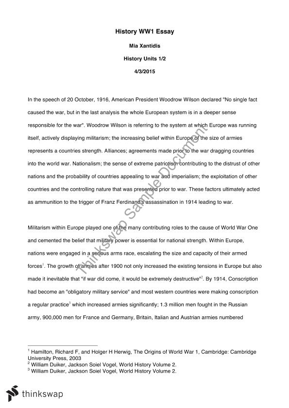 College Essay Paper Causes Of World War  Essay Religion And Science Essay also Example Of Proposal Essay Causes Of World War  Essay  Year  Vce  History Th Century  American Dream Essay Thesis
