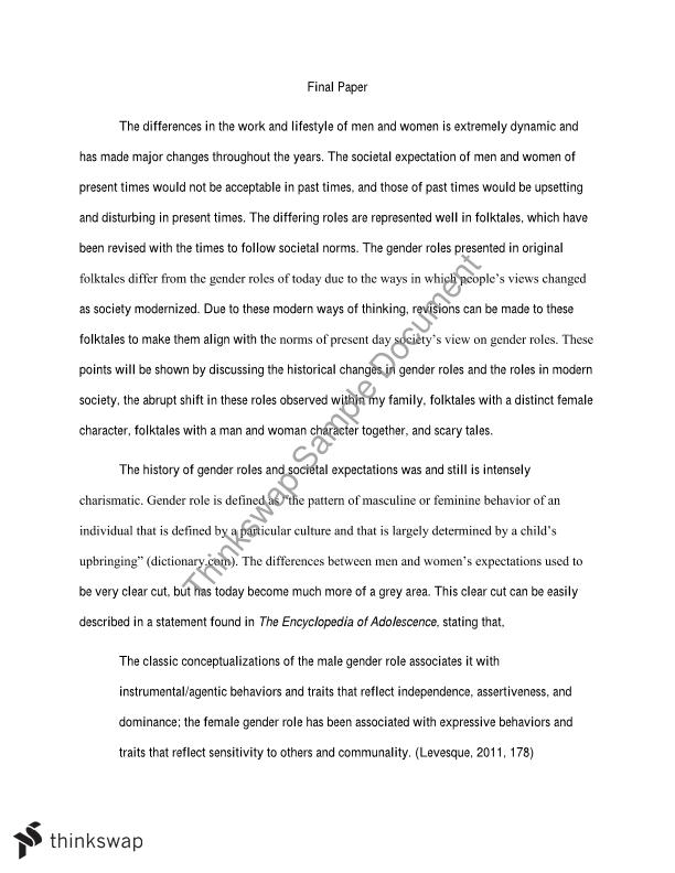 Gender roles in society essay