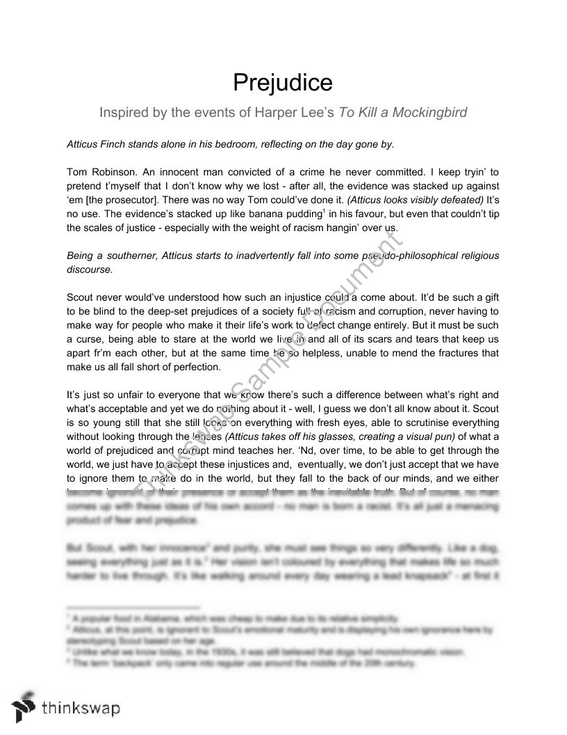 prejudice   a monologue inspired by to kill a mockingbird  year   prejudice   a monologue inspired by to kill a mockingbird